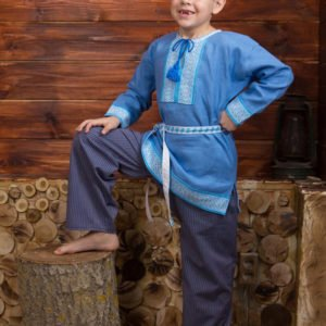 """Детская рубаха """"Этно"""" синяя"""