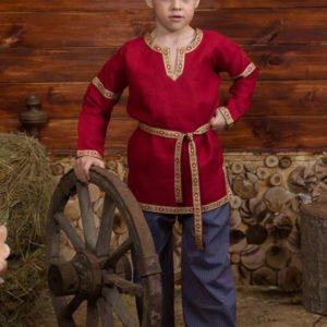 Детская рубаха в русском стиле красная