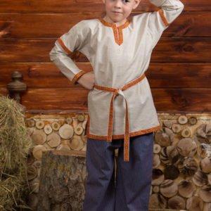 Детская рубаха в русском стиле небелёная