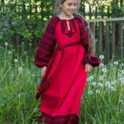 Детское платье «Этно» красное