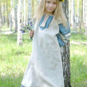 """Детское платье """"Этно"""" небелёно-голубое"""