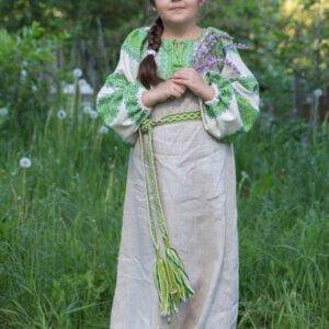 """Детское платье """"Этно"""" небелёно-зелёное"""
