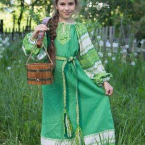 """Детское платье """"Этно"""" зелёно-белое"""