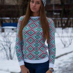 Джемпер белый с зелёным (женский)