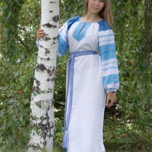 """Платье """"Этно"""" бело-голубое"""