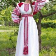 """Платье """"Этно"""" бело-красное"""