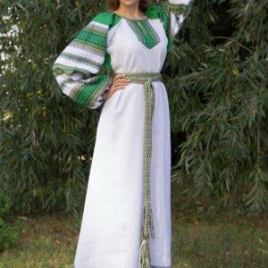 """Платье """"Этно"""" бело-зелёное"""