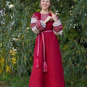 """Платье """"Этно"""" бордовое"""