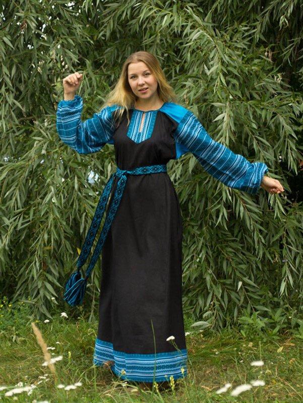 """Платье """"Этно"""" чёрно-голубое"""