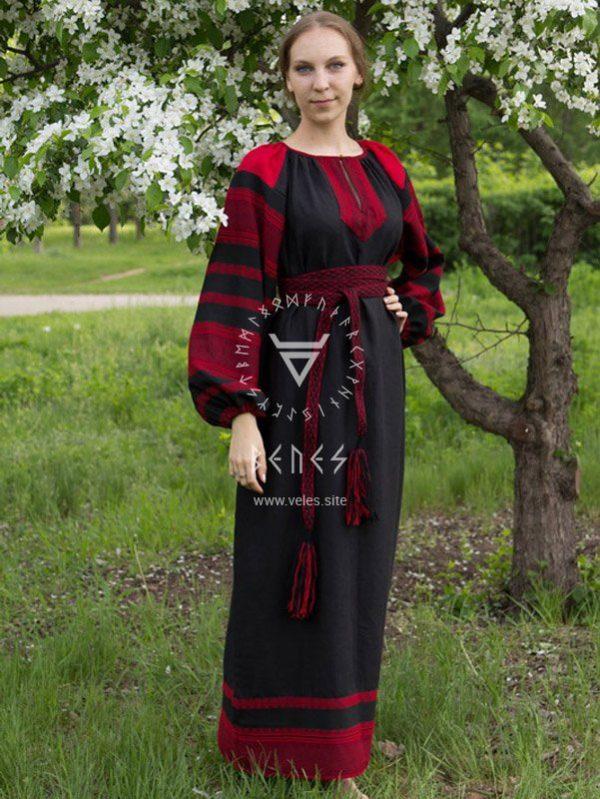 """Платье """"Этно"""" чёрно-красное"""