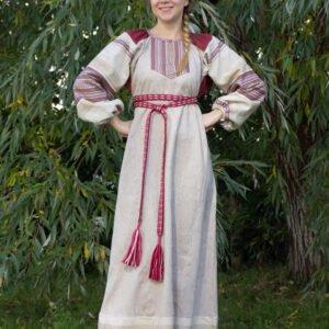 """Платье """"Этно"""" небелёно-бордовое"""