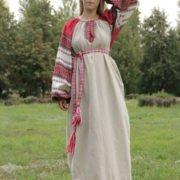 """Платье """"Этно"""" небелёно-красное"""