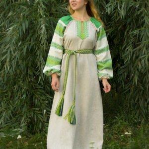 """Платье """"Этно"""" небелёно-зелёное"""