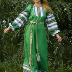 """Платье """"Этно"""" зелёно-белое"""
