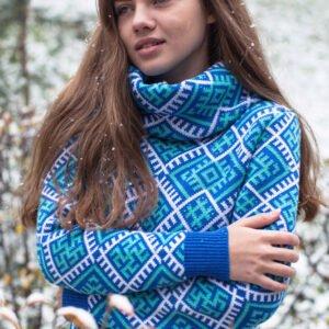 Свитер с воротом синий (женский)