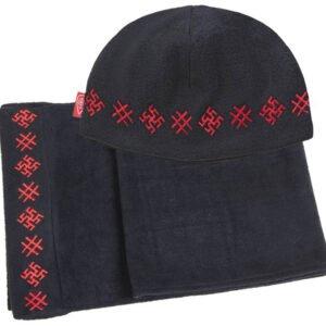 "Комплект ""Обережный"" чёрный: шапка + шарф"