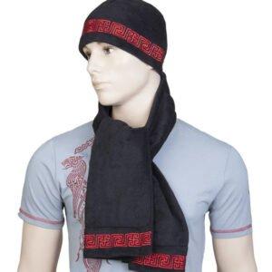 """Комплект """"Рысич"""" чёрный: шапка + шарф"""