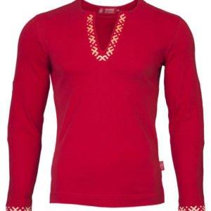 """Рубашка с длинным рукавом """"Полрепья"""" красная"""