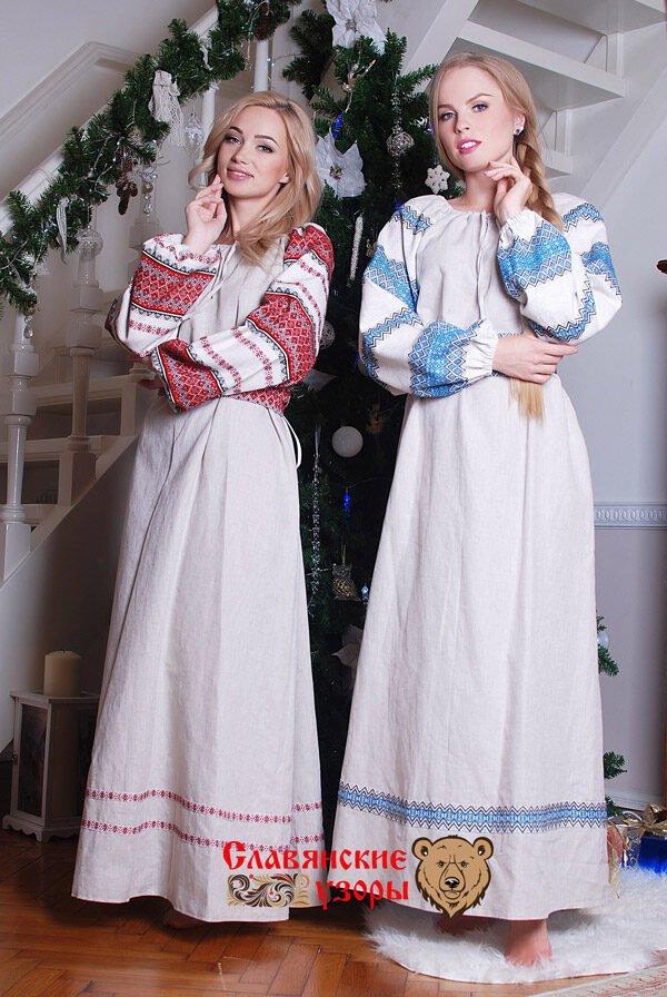 """Платье """"Льняная сказка"""" голубое"""