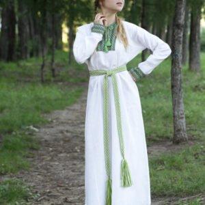 """Платье """"Берегиня"""" бело-зелёное"""