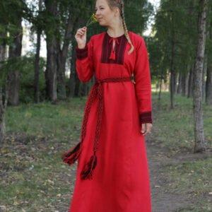 """Платье """"Берегиня"""" красно-чёрное"""