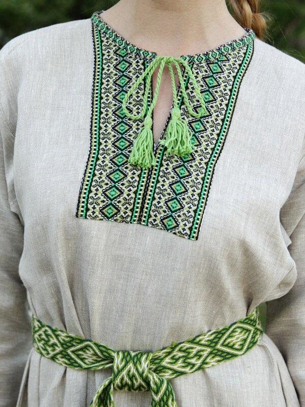 """Платье """"Берегиня"""" небелено-зелёное"""
