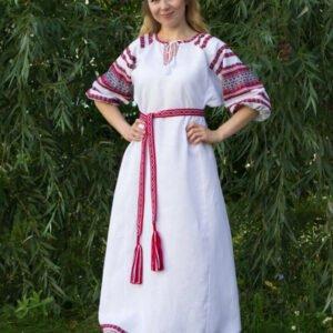 """Платье """"Лада"""" бело-красное"""