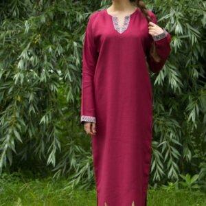 """Платье-рубашка """"Одолень Трава"""" вишнёвое"""