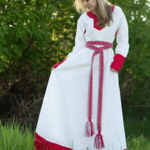 """Платье """"Варяжское"""" бело-красное"""
