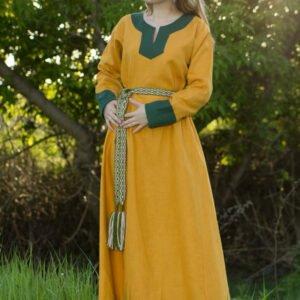 """Платье """"Варяжское"""" жёлто-зелёное"""