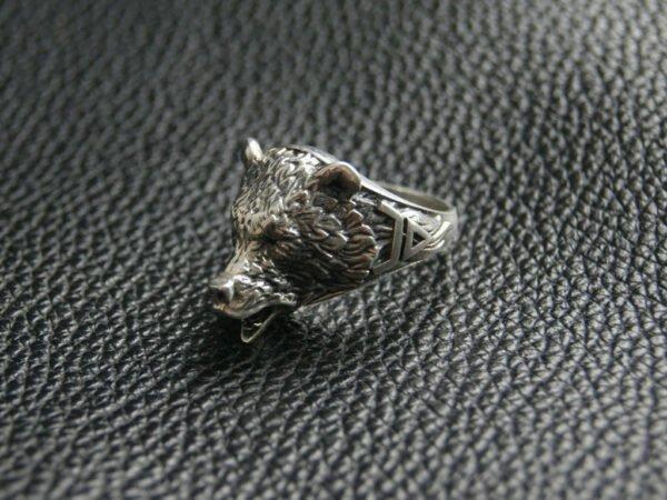 """Кольцо """"Медведь"""" с символом Велеса"""
